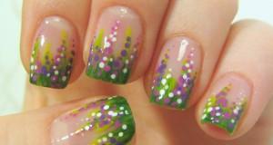 Autumn Calluna Flower Design for Short Nails in Green, Purple & Violet Nail Art Tutorial