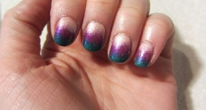 Easy How To: Ombre Nail Art -pink, purple and green design